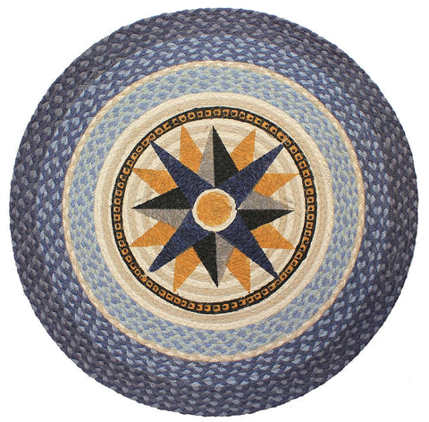 Blue Nautical Compass Braided Rug Round