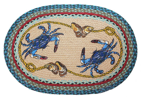 Blue Crab Braided Rug Oval