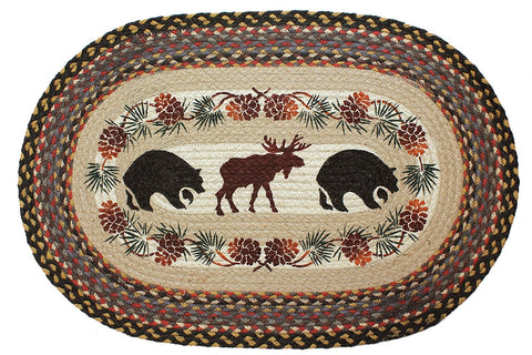 Bear And Moose Braided Rug Oval
