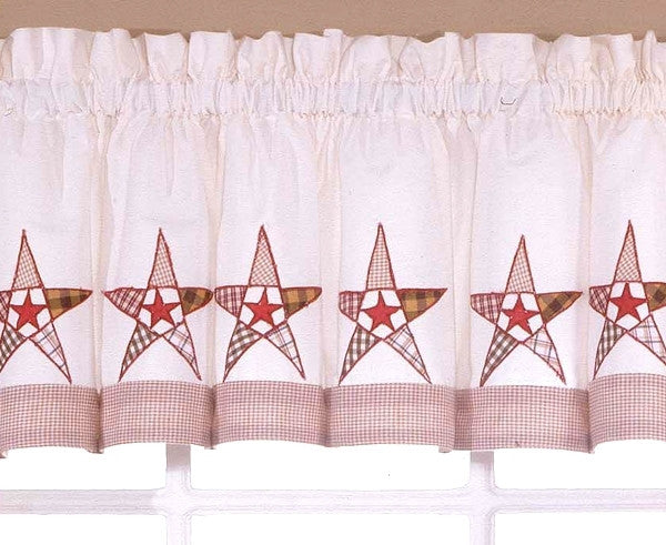 Country Barn Stars Curtains Valance + 24 Tiers kitchen decor