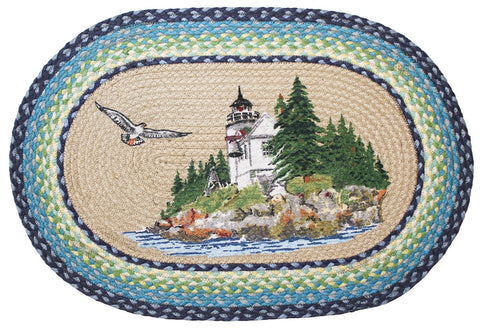 Harbor Lighthouse Braided Rug Oval