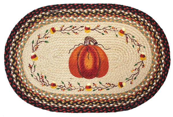 Pumpkin And Candy Corn Braided Rug Oval Scarbrough Faire