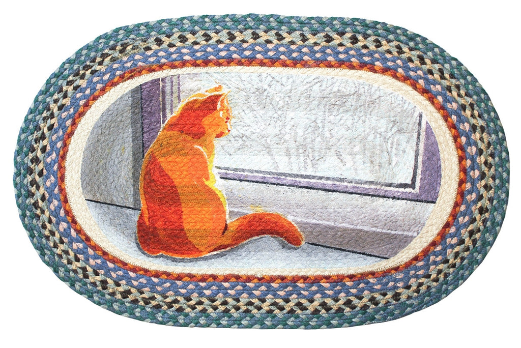 Window Cat Braided Rug Oval