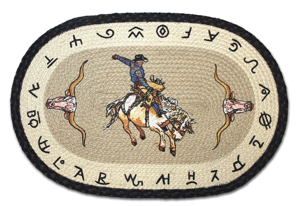 Rodeo Cowboy Braided Rug Oval