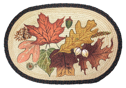 Autumn Leaves Braided Rug Oval