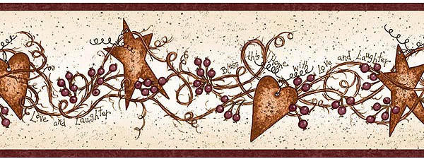 Hearts And Stars Wallpaper Border Bbc65171b Primitive