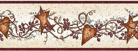 Hearts and Stars Wallpaper Border FAM65171B