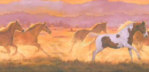 Wild Horses Sunset Wallpaper Border IN2632B