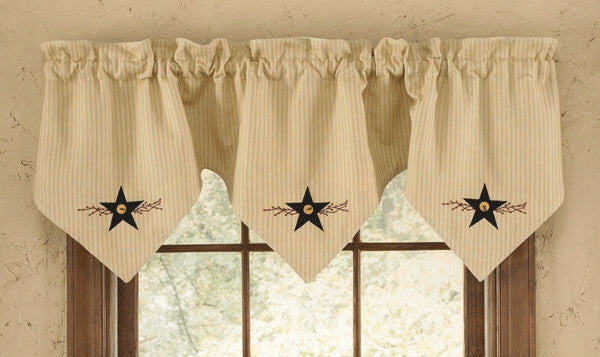 Country Curtain Triple Point Valance Star Vine Primitive