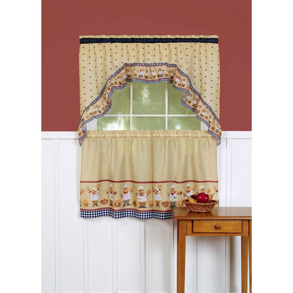 Italian Fat Chef Window Curtain Set Kitchen Swag 24 Tiers