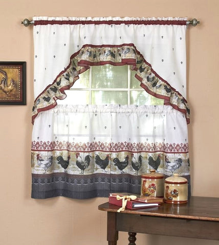 Country Rooster Window Curtain Set