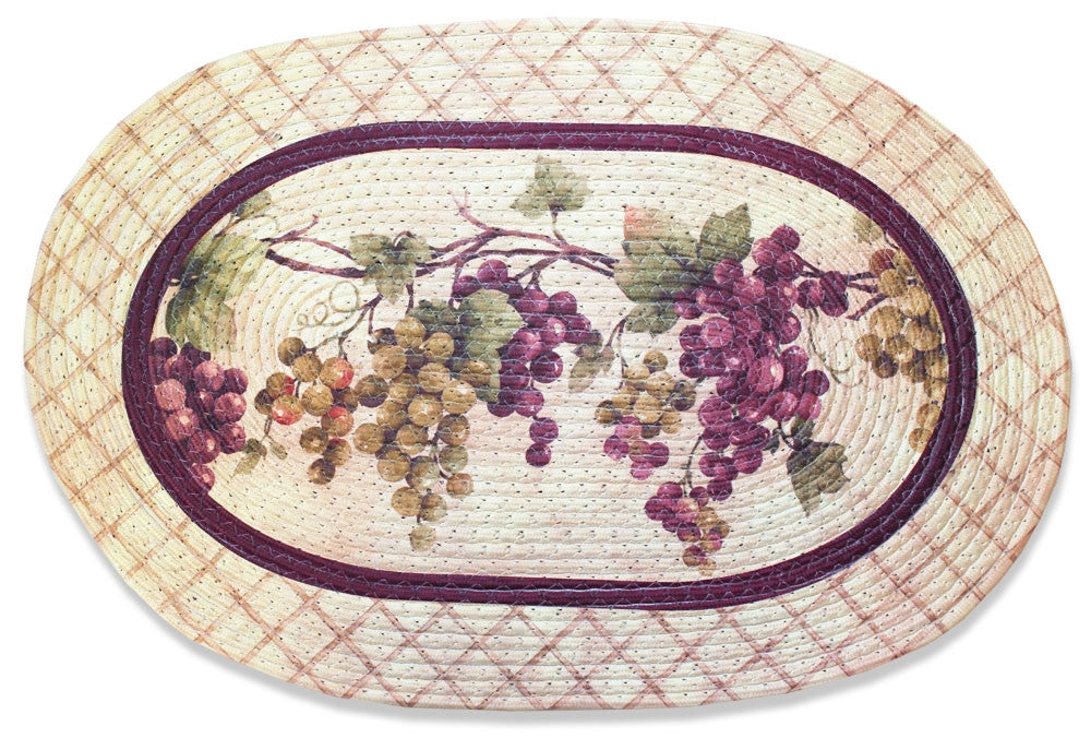Tuscany Kitchen Rug, Braided Oval Rug Grapevine Grapes Wine Decor