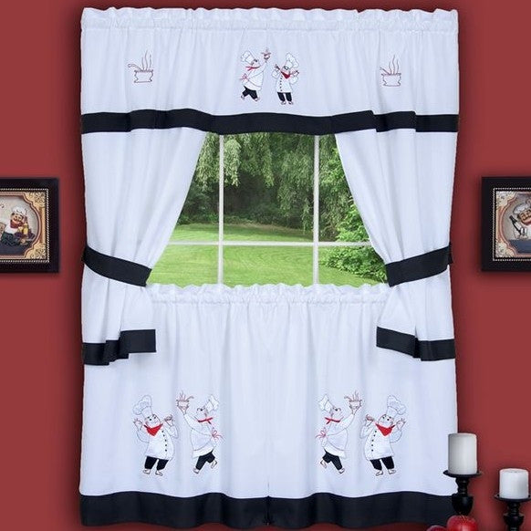 Gourmet Fat Chef Window Kitchen Curtain