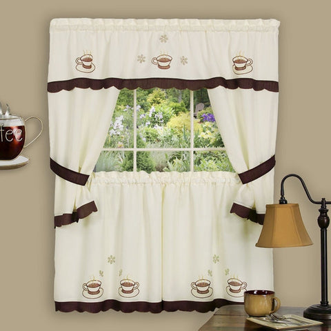 Coffee Cup of Joe Window Kitchen Curtain Set