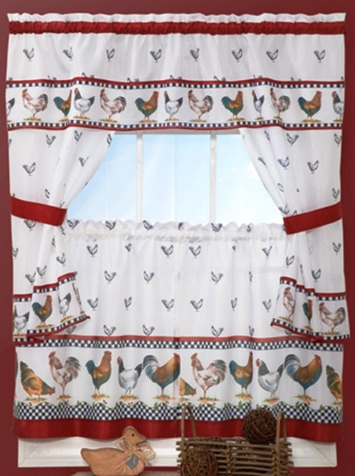 Country Chicken Window Kitchen Curtain Set Valance 24 Tiers Rooster Curtains