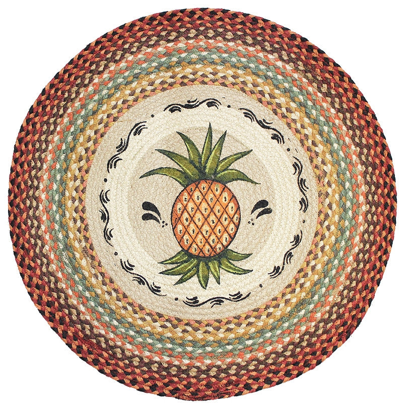 Primitive Pineapple Braided Rug Round