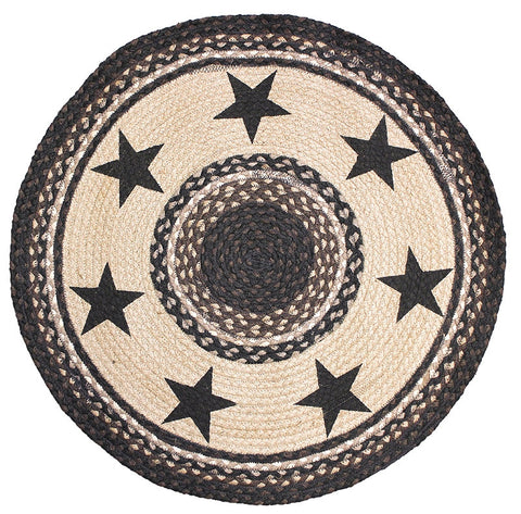 Black Star Braided Rug Black Round