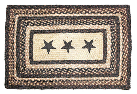 Black Star Braided Rug Black Rectangle