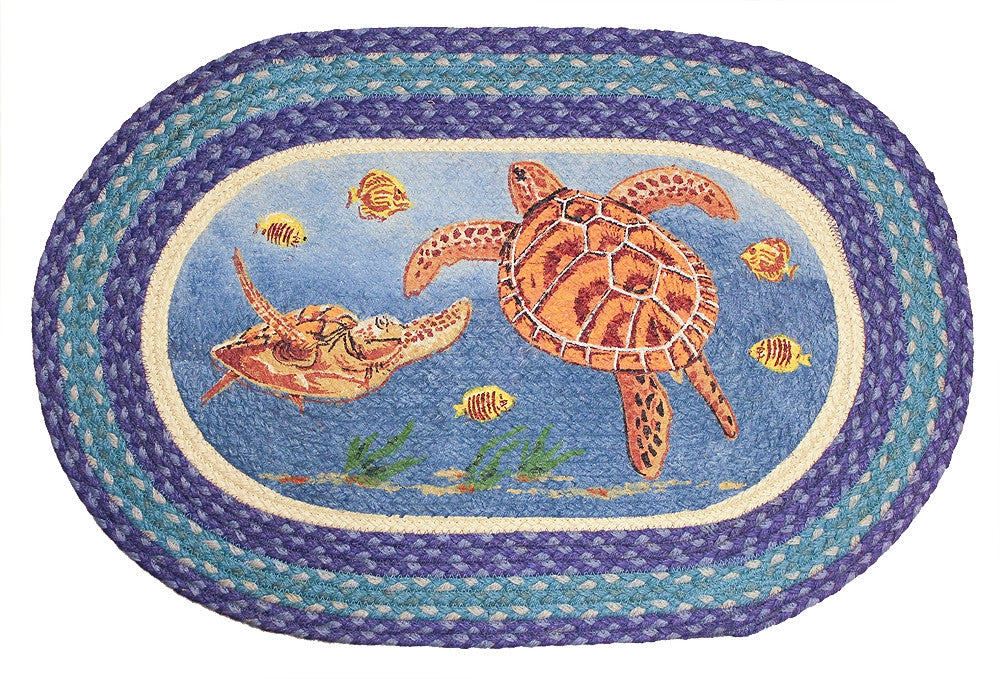 Sea Turtle Braided Rug Oval