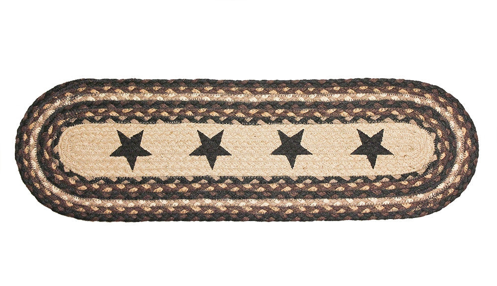 Braided Stair Treads (Black Stars, Rustic) Country Primitive Star