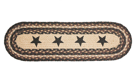 Braided Stair Treads Black Stars Rustic