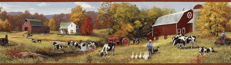 Country Farm Wallpaper Border Ffr15031b Dairy Cow Tractor