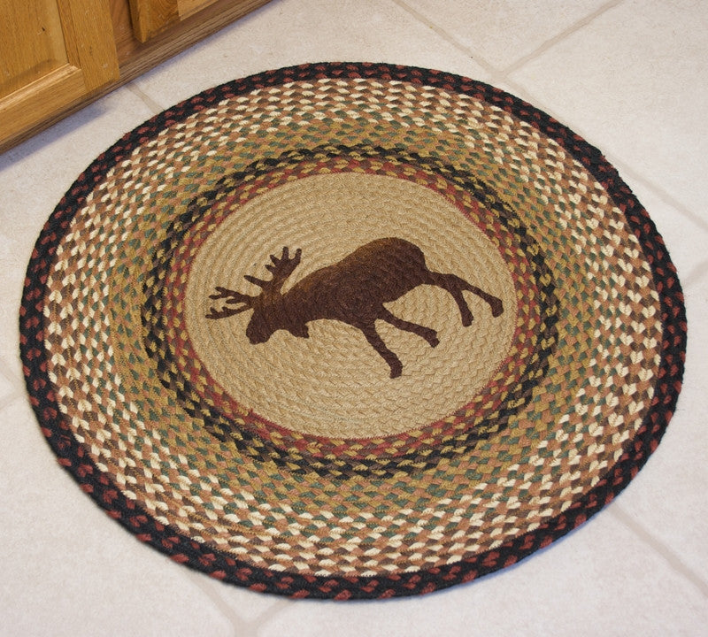 Moose Braided Rug Round