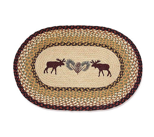 Moose Braided Rug Oval