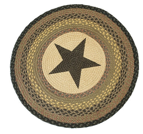 Black Star Braided Rug Coffee Round