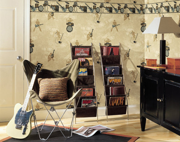 Rock Band Wallpaper Border, CK7784B electric guitar drum star