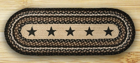 Black Star Braided Rug Black Runner