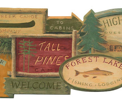 Lodge Signs Wallpaper Border WL5569B