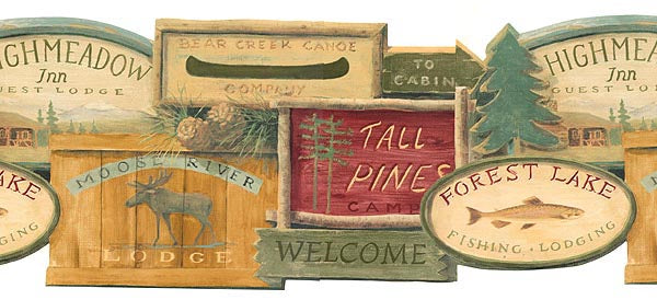 Lodge Signs Wallpaper Border WL5569B, moose cabin fish rustic