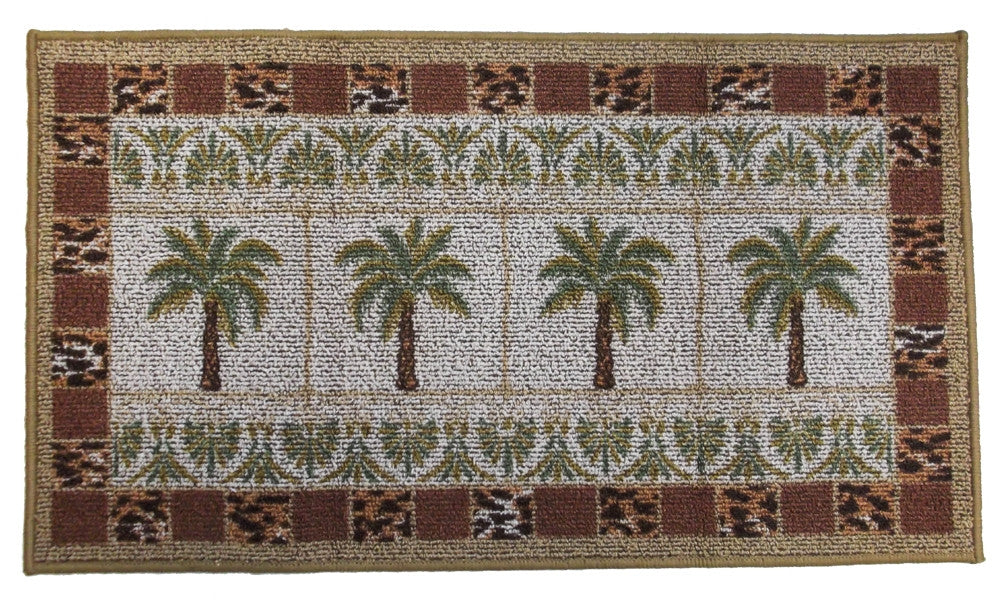 Palm Tree Grid Kitchen Rug