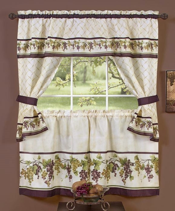 Tuscany Grapes Window Curtain Set W 36 Tiers Kitchen Curtains