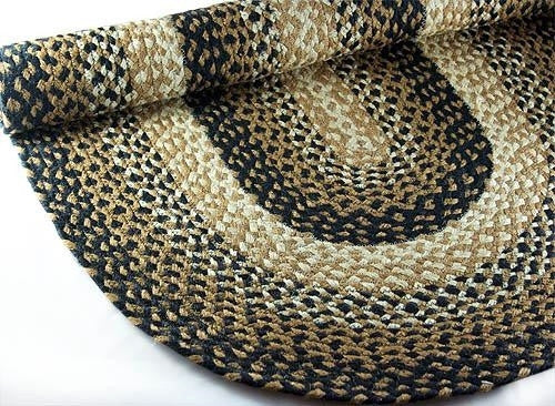 coffee cream braided rug
