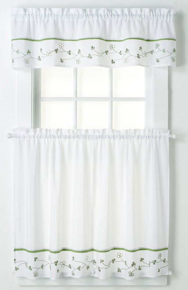 Clover Window Curtain Irish Green Shamrock Valance + 24\