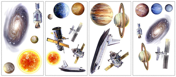 Outer Space Wall Decals, planets peel and stick stickers