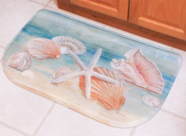 Memory Foam Kitchen Rug (Sea Shells), Nautical Decor Cushion Slice Rug