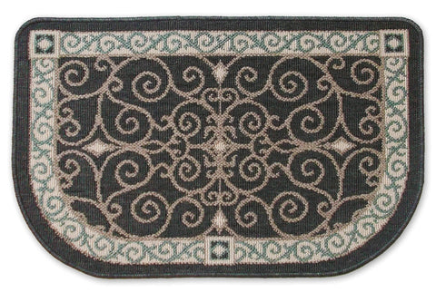 Midnight Scrollwork Hearth Rug