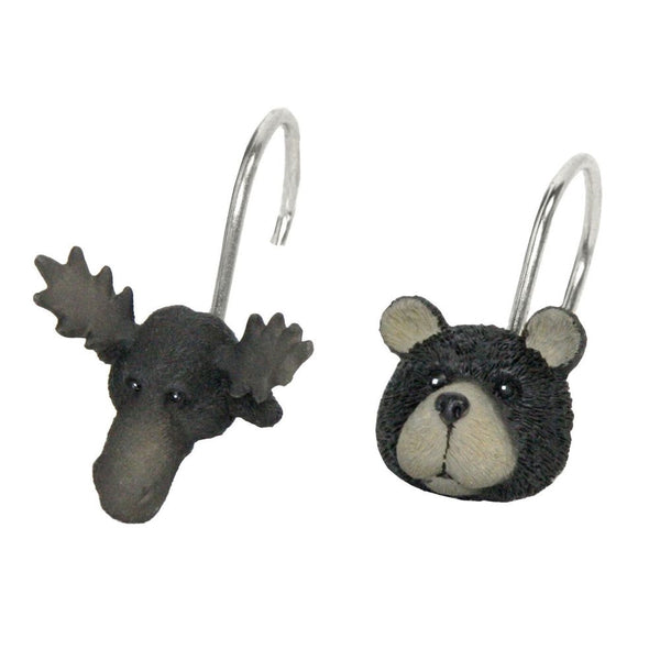 moose and bear shower curtain rings