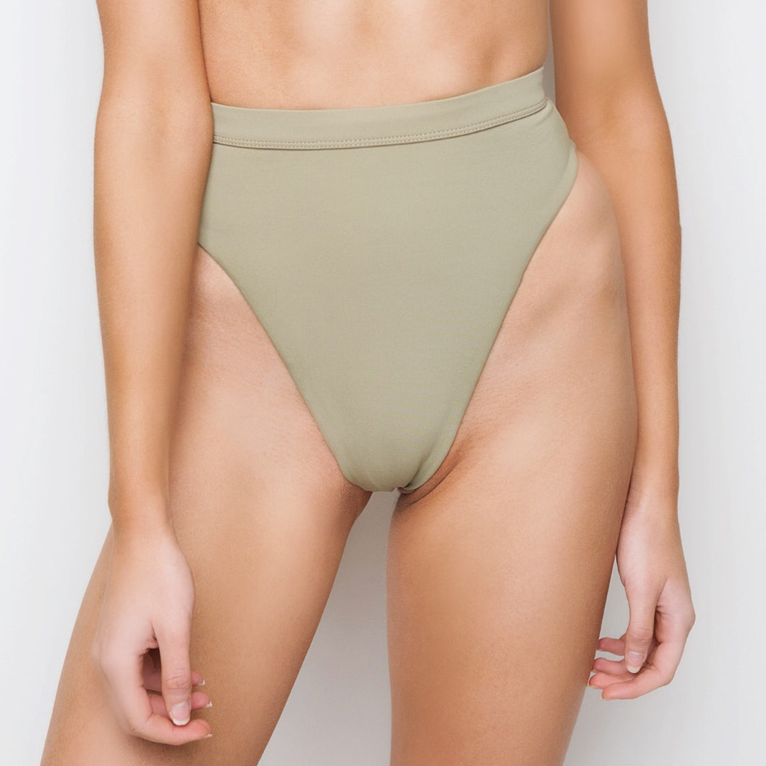 Green high waisted brazilian cut bikini bottoms