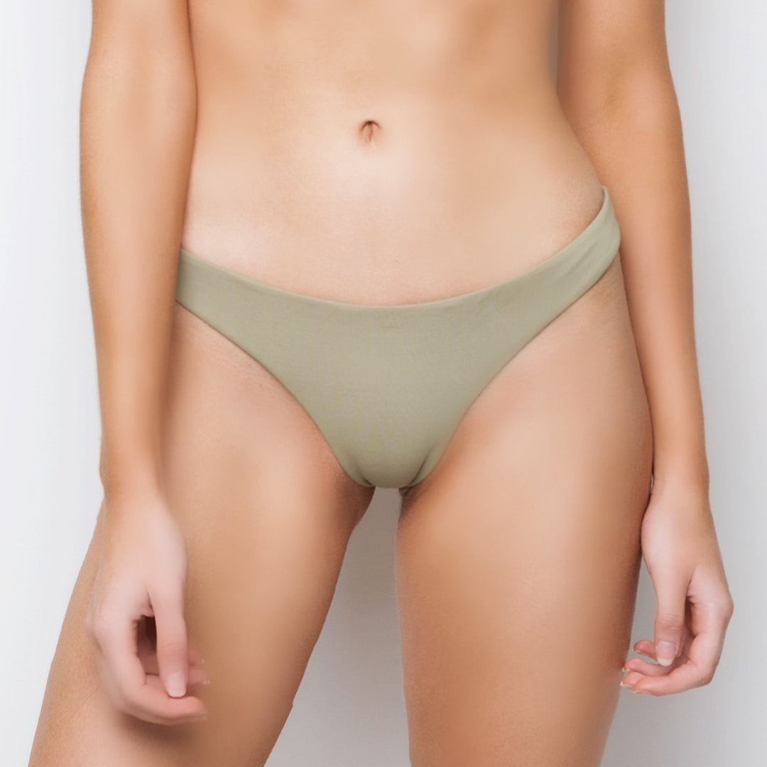 Moss light green gathered ruched brazilian cut seamless bikini swimwear bottoms