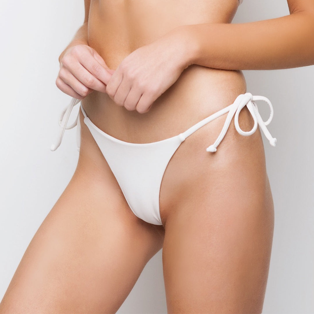 Cream brazilian bikini bottoms with ties