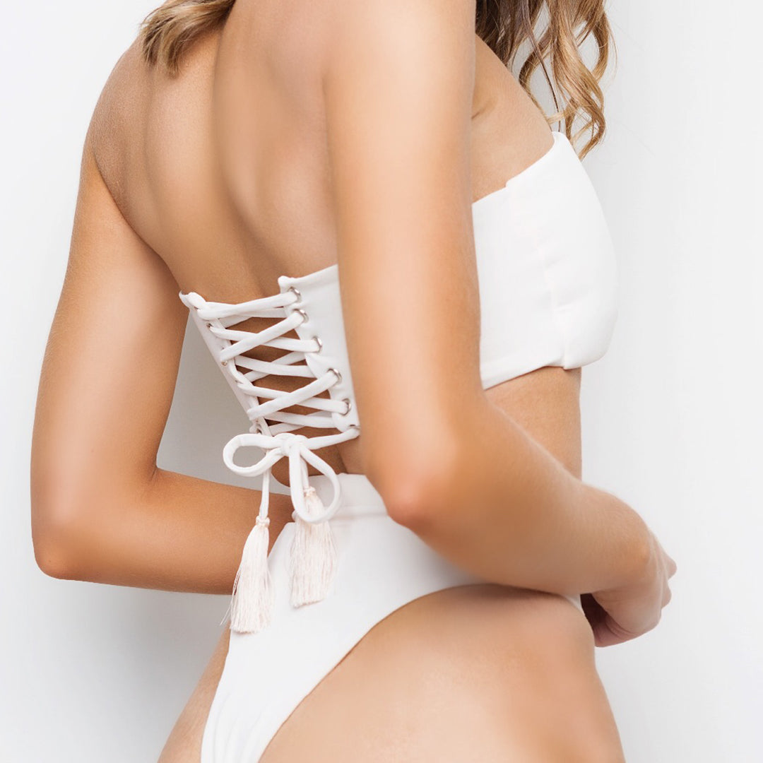 Cream coloured strapless bandeau with corset tie up back