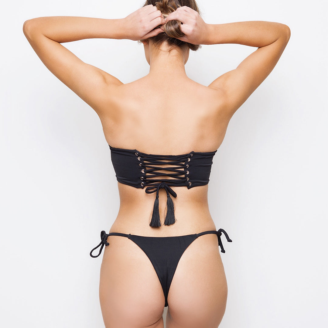 Black strapless bandeau with corset lace up back