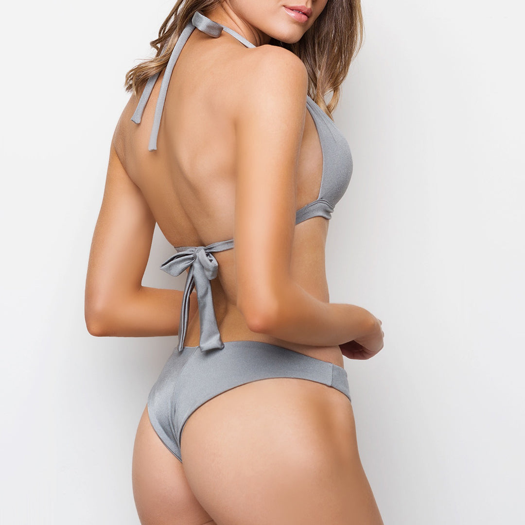 Metallic silver grey padded triangle halter bikini top with ties