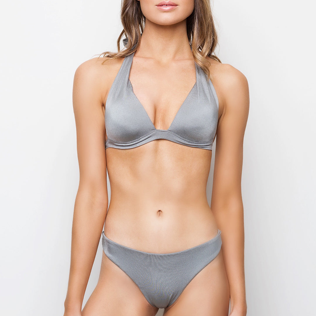 Metallic silver grey block coloured cheeky cut seamless medium coverage bottoms