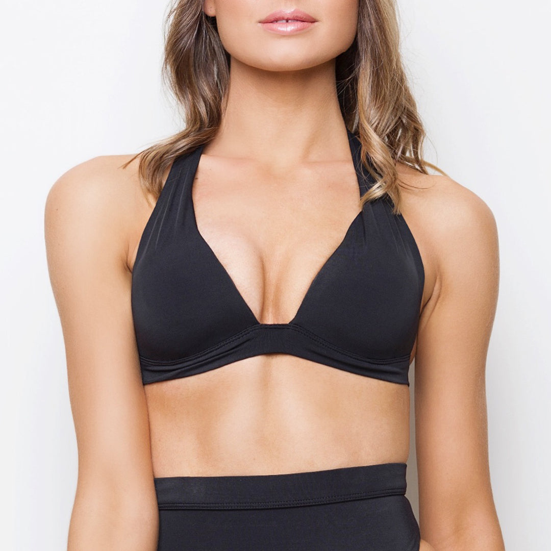 Midnight black padded triangle halter bikini top with ties