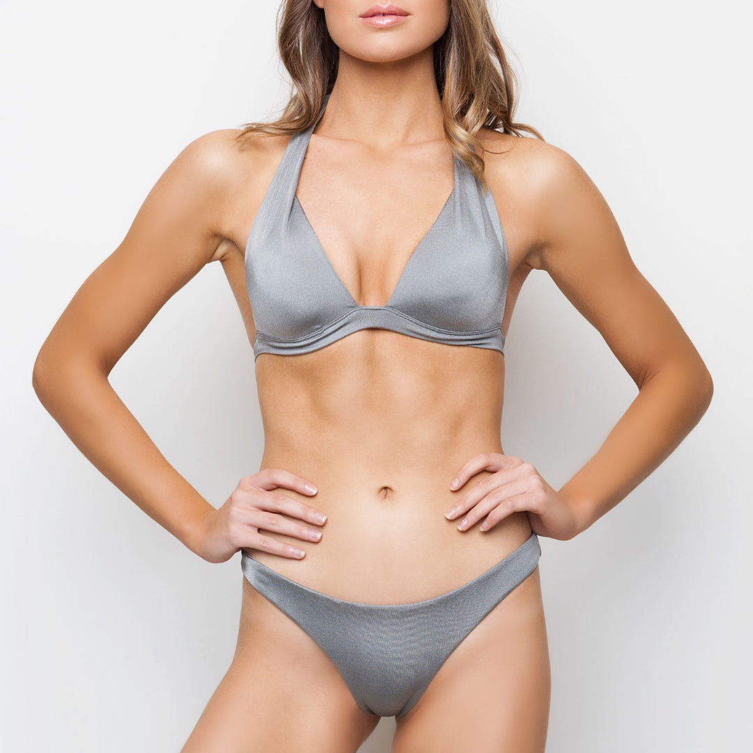 Metallic silver grey gathered ruched brazilian cut seamless bikini bottoms